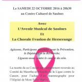 Samedi 22 Octobre 2016 : Concert pour la Ligue contre le Cancer du Sein